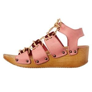 COOLWAY Blush Lace Up Wedge Sandals 38